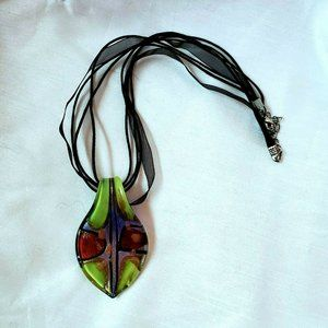 Murano Glass Pendant Necklace Green Copper Black